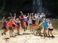 Volunteers at the waterfall